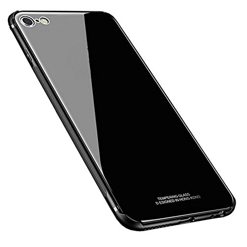 Kepuch Quartz Cover per iPhone 7 iPhone 8 - TPU Morbido + Custodia Posteriore in Vetro Temperato Case per iPhone 7 iPhone 8 - Nero