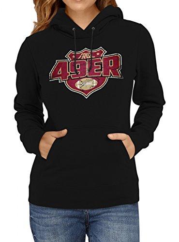 Shirt Happenz True 49er #8 Premium Hoodie Superbowl American Football Play Offs Frauen Kapuzenpullover, Farbe:Schwarz;Größe:S