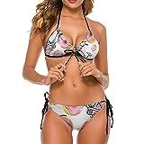 Bikini traje de baño para mujer donuts Bicicletas dos piezas traje de baño señora traje de baño vacaciones sin respaldo ropa de baño, Blanco-estilo1, L