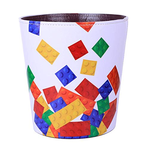 FBBM Papierkorb Kinder mit Motiv Bausteine, 10L Papierkörbe Kinderzimmer, Abfalleimer aus Leder, Wasserdicht Mülleimer ohne Deckel für Kinderzimmer Wohnzimmer Schlafzimmer Büro