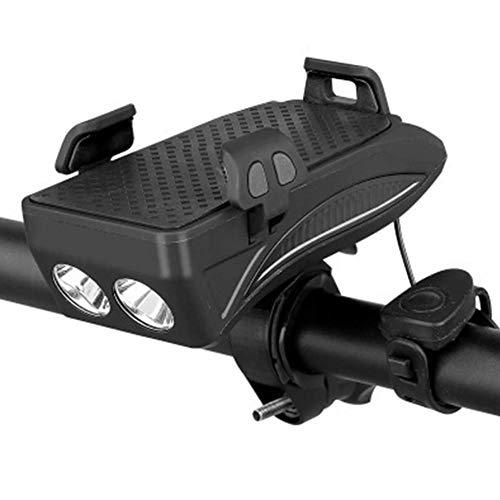 TGB Fahrradhalterung 4 in 1 mit Akku Powerbank 4000 mAh für 6-12 h, Taschenlampe 3 Modi LED Licht 400 Lumen, Hupe mit 5 Klängen, verstellbare Montage einfach am Lenker, für Smartphones (schwarz)