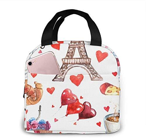 Liefde Parijs Toren Koffie Wijn Parfum Fiets Hart Lunch Tas Draagtas Lunchbox Geïsoleerde Lunch Container Voor Vrouw Man