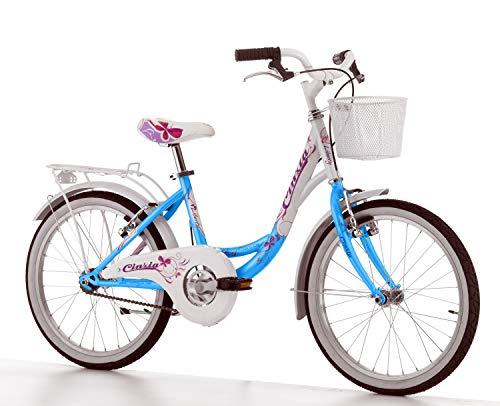 Cicli Cinzia Bicicletta 20' Citybike Liberty per Bimba, Senza Cambio, V-Brake Alluminio, Azzurro Perla/Bianco