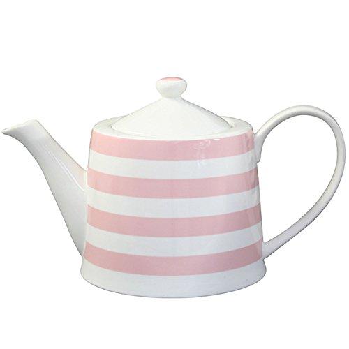 Krasilnikoff - Teekanne - Teapot, Pink/Weiss - Streifen - H: 14cm / 71L - Porzellan