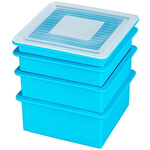 Levivo Silikon Eiswürfelform Set, in 4 Größen & Motiven, Antihaft Eiswürfelbehälter, Eiswürfelbereiter Semi-Transparent oder Blau, Eis Silikon Form, Levivo Eiswürfelform, Formset für Eiswürfel