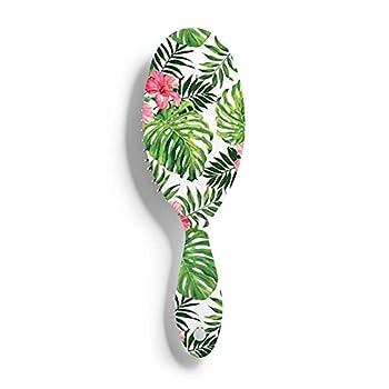 Tropical Leaves Wet Brush Hair Brush Massage Scalp Plastic Hairbrush Detangling Brush For All Hair Types - For Women,Men,Wet And Dry Hair
