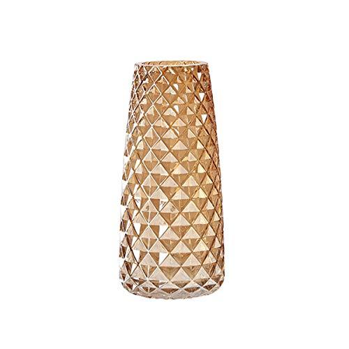 YUEMA Glasblumentopf Höhe 22 cm Moderne Dekorative Vase halbtransparent Grau Büro Zuhause Tischdekoration Ananas Textur (B)