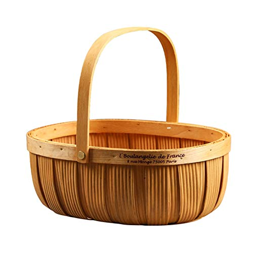pot Picnic Basket Natural Manual Woven Basket with Folding Handles, Woodchip Basket and Organizer Blanket Storage (Size : 22x17x10cm)