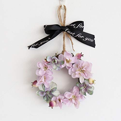 XKMY Corona de flores artificiales Mini corona de hortensias artificiales para puerta de muelle, para pared frontal, hogar, boda