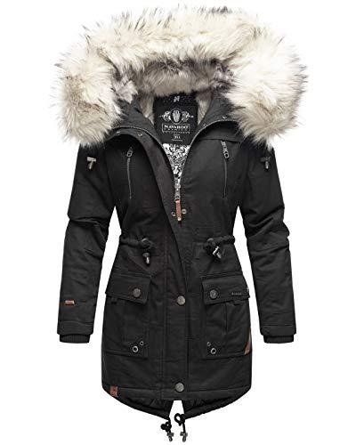 Navahoo Premium Damen Winter Jacke Parka Mantel Winterjacke warm Kunstfell B805 [B805-Honigf-Schwarz-Gr.S]