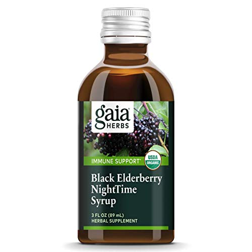 Gaia Herbs, Black Elderberry NightTime Syrup, Immune Support for Restful Sleep, Organic Sambucus Elderberry Supplement, 3 Ounce