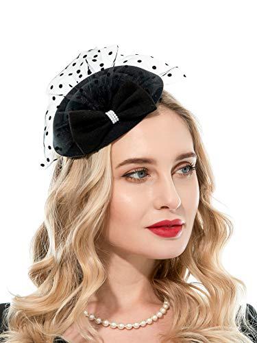 Zhyes Fascinator Hut für Frauen 20er 50er Jahre Hut Pillbox Hut mit Schleier Haarband Clip Teeparty Kopfbedeckung Gr. Einheitsgröße, Schwarz
