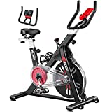 VIGBODY Exercise Bike Stationary Workout Bike Cardio Indoor Cycling Bike for Home Gym Office, Upright Belt Drive with Tablet Holder & LCD Monitor & Comfortable Seat Cushion (Update to 400 Lbs Weight Capacity)