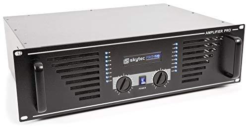 SkyTec SKY-2000B Versterker 2x 2000 Watt met Speakon, RCA, 6,3mm Jack zwart