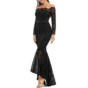 LALAGEN Women's Floral Lace Long Sleeve Off Shoulder Wedding Mermaid Dress Black XXL