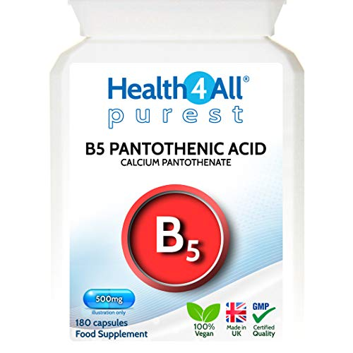 Vitamin B5 Pantothenic Acid 500mg 180 Capsules (V) Purest: No Additives, Vegan. Made by Health4All