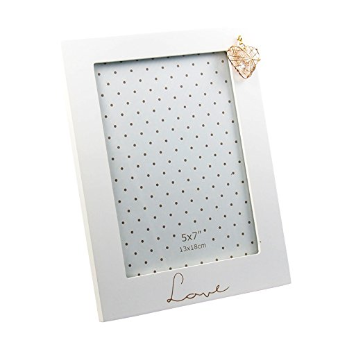 Cadre photo Love avec cœur blanc - Laqué mat - Environ 18 x 23 cm - Pour photos de 13 x 18 cm