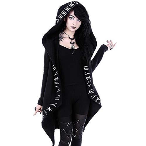 Modaworld carnevale Donna Felpa con cappuccio da con chiusura Punk, Felpa con Zip a maniche lunghe in Stile Gotico Piccolo E ~ nero