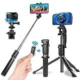Power Theory Bluetooth Selfie Stick mit Handy & Kamera Stativ (80cm) - Selfiestick mit Fernauslöser, kompatibel mit iPhone, Samsung, Huawei, OnePlus, Digitalkameras GoPros & mehr - Selfi Tripod