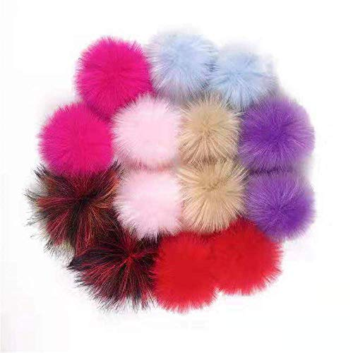Llmumu 14 Piece Faux Fur Pompom Ball Fluffy DIY Removable Faux Fur Pompom with Elastic Loop,Shoes Bags Knitting Hat Scarf Keychain Accessories,Mix Color,4.8 Inches (Bright Color)