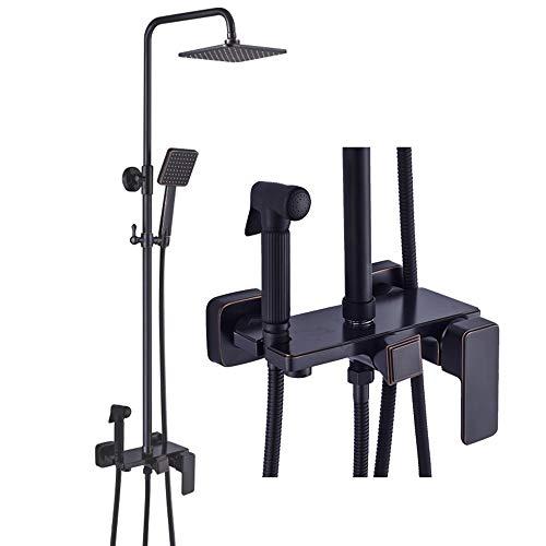 Buy Discount L.J.JZDY Shower Set Retro Square Shower Set Copper Shower Faucet Top Spray Shower Syste...