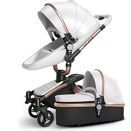 SpringBuds Baby Stroller Bassinet Carriage Combo 360 Rotation 2-in-1 Shock-Resistant High Landscape Luxury Pram Stroller for Newborn and Toddler -White