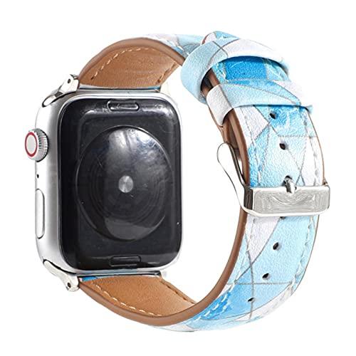 Correa de muñeca de cuero para Apple Watch, banda de pulsera estampada para hombres y mujeres para iWatch Series SE / 6/5/4/3/2 / 1-3,42mm o 44mm