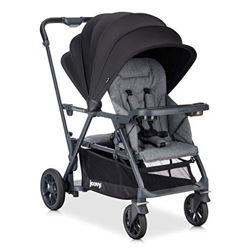 Joovy Caboose S Kinderwagen, Premium-Sitz- und Steh-Kinderwagen, Doppelter Kinderwagen, Kinderwagen für Kinder unterschiedlichen Alters, Multifunktionaler Kinderwagen mit zusätzlichem Zubehör, graue