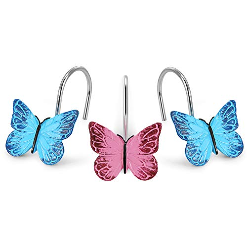 AGPTEK 12PCS Home Fashions Butterfly Anti Rust Decorative Resin Hooks for Bathroom Shower Curtain,Bedroom,Living Room Curtain-Pink and Blue