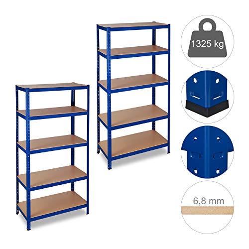 2 x Schwerlastregal, Traglast 1325 kg, 5 Ebenen, zum Stecken, Keller, Garage, Stahl, HxBxT: 180 x 90 x 45 cm, blau