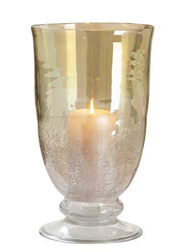 GILDE Windlicht - aus Glas in grün klar craqueliert H 30 cm D 18 cm