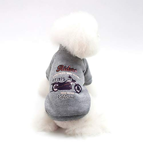 SMALLLEE_LUCKY_STORE Pet Soft Fleece Crewneck Sweatshirt for Small Dogs Cats Boy Motorcycle Print Pullover Sweater Shirt Winter Puppy Clothes Toy Poodle Jack Russell Pug,Grey XXL