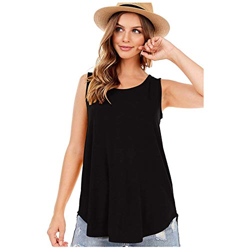 MOMOEW Women'S Shirt Summer T-Shirt Elegant Vest Sports Printed Top Long Casual Top Tunic Top Shirt Loose Pullover Sweatshirt Sleeveless Girl Bandage Fashion
