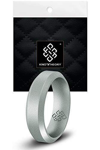 Knot Theory Bevel Comfort Fit Silicone Ring for Women Men Slim Silver 4mm Size 6