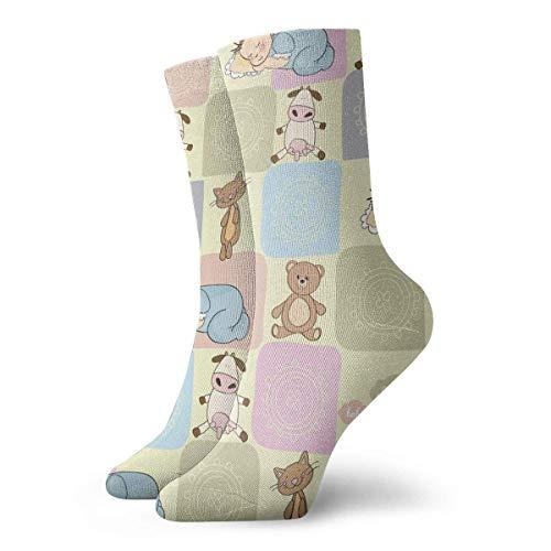 yting Motif animal bébé mignon de bande dessinée Chaussettes courtes respirantes coton classique 30cm chaussettes pour femmes yoga yoga randonnée cyclisme