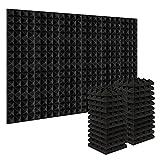 Acolchado Insonorizado, AGPtEK 24 Paquetes de Espuma Insonorizadora 25x25x5CM Paneles de Espuma Acústica, Ideales para Grabar en Estudios, Salas de TV, Habitaciones de Niños, 24 Negro