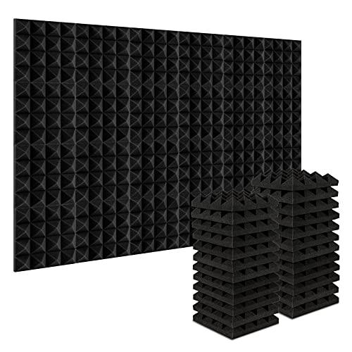 AGPtEK Schalldämmende Polsterung 24 Stück Schaumstoff-Dämmplatten 25 x 25 x 5 cm Akustikschaumstoff Blau und Schwarz Ideal für Tonstudio, Fernsehzimmer, Kinderzimmer, Büro und Podcast Schwarz