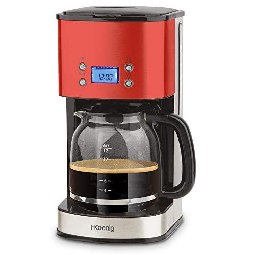 H.Koenig Cafetière Programmable à filtre Rouge Inox 1,5L (12 tasses) MG30, 1000W Carafe en Verre Gradué, Système Anti-Gouttes, Maintien au chaud, Ecran LDC, Arrêt auto, Porte-filtre amovible lavable