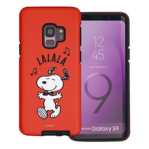 """Galaxy S9 ケース と互換性があります Peanuts Snoopy ピーナッツ スヌーピー ダブル バンパー ケース デュアルレイヤー 【 ギャラクシー S9 ケース (5.8"""") 】 (スヌーピー Lalala) [並行輸入品]"""