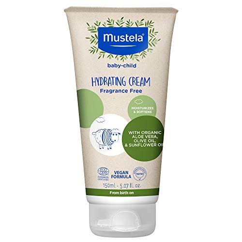 Mustela Baby Organic Hydrating Cream - Natural Body Lotion with Olive Oil, Aloe Vera & Sunflower Oil - Fragrance Free, Vegan & EWG Verified - 5.07 fl. oz.