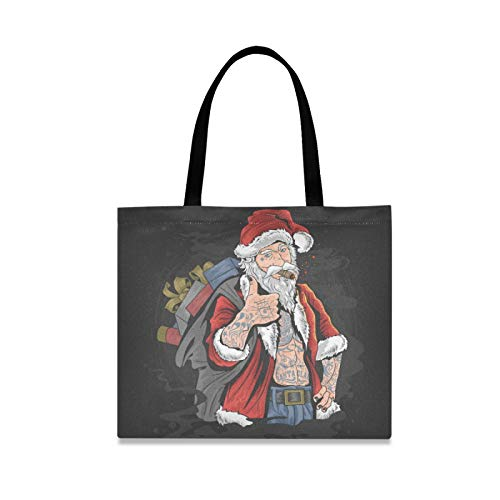 RURUTONG Santa Claus Canvas Tote Bag for Women Girls Punk Tattoo Well-Made Multi-Purpose Reusable Grocery Beach Shopping Bags Purse 2010167