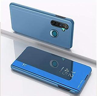 スタンド携帯電話のホルスターとOPPO Realme 5メッキミラー左右反転レザーのために林(シルバー) HDJ (Color : Blue)