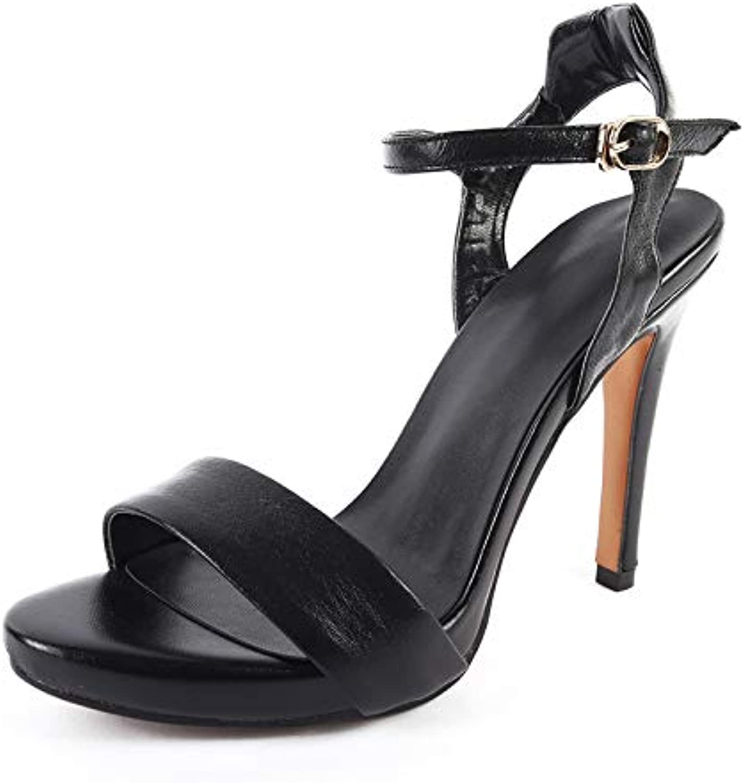 MENGLTX Genuine Leder Dünne High Heels Damen Schuhe Party Sandalen Damen Sommer Knchelriemen schuhewoman