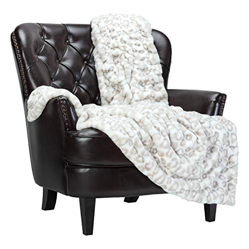 Chanasya Ruched Royal Leopard Faux Fur Throw Blanket - Fuzzy Plush Elegant Blanket for Sofa Chair Couch and Bed with Reversible Velvet Blanket (50x65 Inches) Silver Leopard