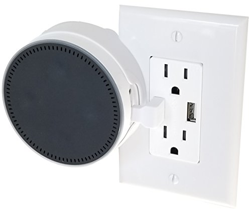 The USB Outlet Cover Plate Mount for Amazon Echo Dot 2nd Generation Alexa by Dot Genie: The Simplest Built-in Holder Mount. Great for Home and Business (White, 1-Pack)