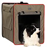 Petsfit Dog Travel Crate Lightweight Medium Dog Crate, Foldable Fabric Extra Large Dog Crate,Portable Dog Crate for Dogs, with Fleece Mat and Food Pockets