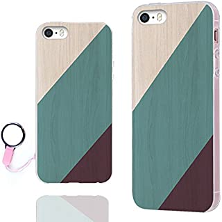 iPhone SE Case,iPhone 5s Case, iPhone 5 Case,ChiChiC [Orignal Series] Full Protective Slim Flexible Soft TPU Rubber Cases Cover for iPhone 5 5S SE,Geometric Green Blue Teal Purple Brown Wood Grain