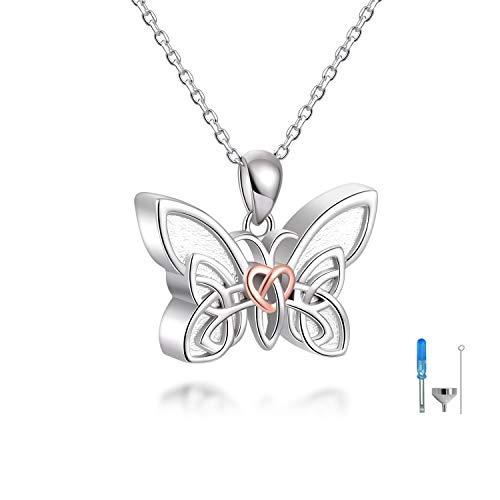 925 Sterling Silver Cremation Jewelry for Ashes, Celtic Knot Pendant Keepsake Butterfly Urn Ash Necklace Hold Two Memorial Bereavement Gifts for Women