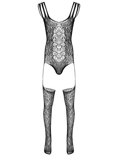 CHICTRY Transparent Jumpsuit Herren Ouvert-Body Overall Ganzkörper Anzug Fischernetz Strumpfhosen Dessous Lingerie Clubwear Schwarz H One Size