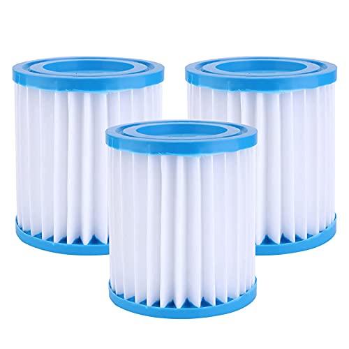 Cdemiy Cartuchos de Filtro, 3 Pcs Bestway Size I Cartucho para Filtros para Piscinas, Bomba de Filtro de Agua de Circulación de Piscina Inflable, para Limpieza de Piscina de Tubo